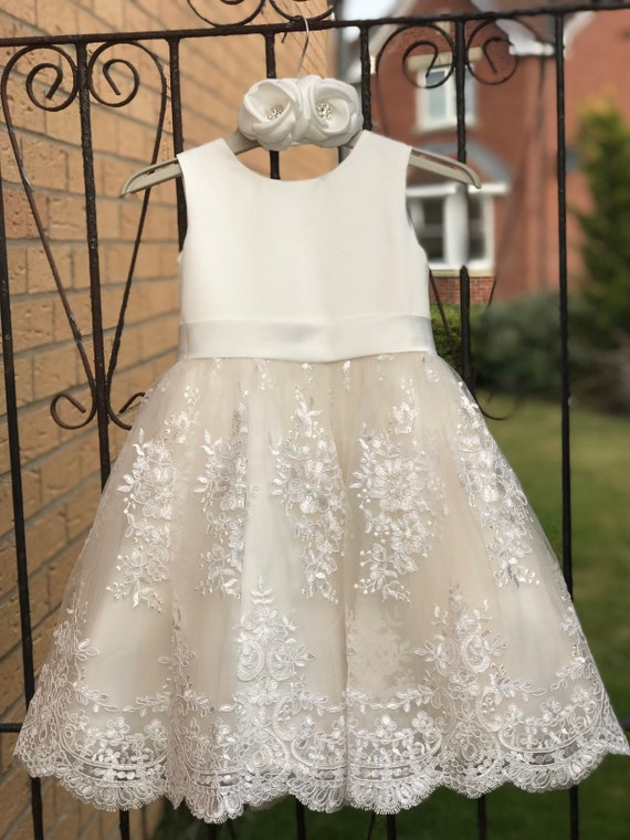 Ivory Satin Lace Champagne Tulle Flower Girl Dress Wedding Bridesmaid Dress M0036B