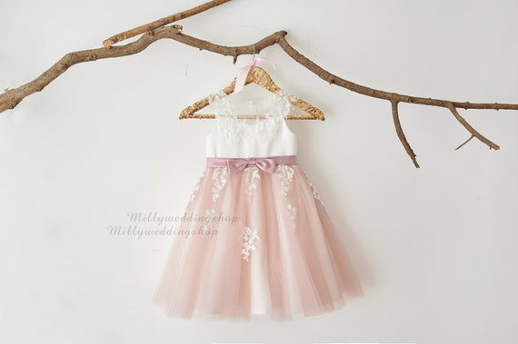 Flower Girl Dress Dusty Rose Tulle With Illusion Sheer Lace M0082
