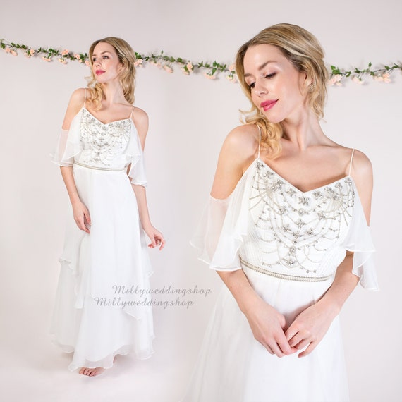 Boho Beach Chiffon Beaded Wedding Dress B002