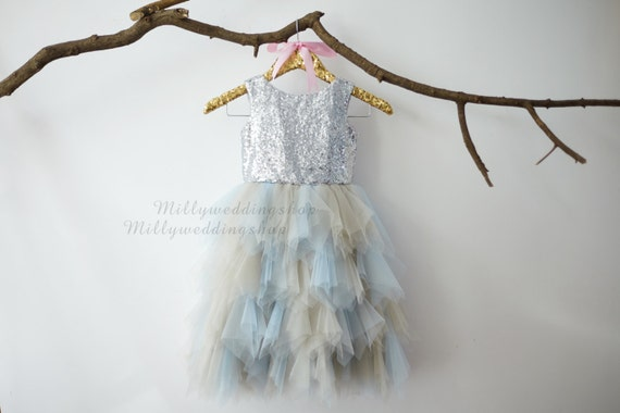 Sliver Sequin Gray Blue Ruffle Tulle Skirt Flower Girl Dress Junior Bridesmaid Wedding Party Dress M0013