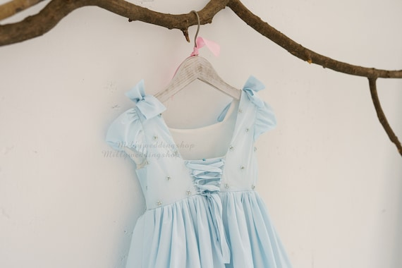 Dusty Blue Pearl Beaded Cotton Party Flower Girl Junior Bridesmaid Dress  M0099