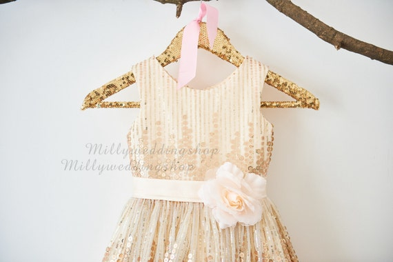 Rose Champagne Sequin Flower Girl Dress Junior Bridesmaid Wedding Party Dress M0027