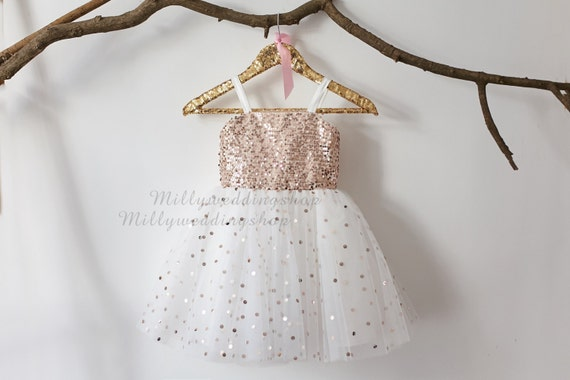 Thin Straps Rose Gold Sequin Tulle Flower Girl Dress Wedding Junior Bridesmaid Dress M0018