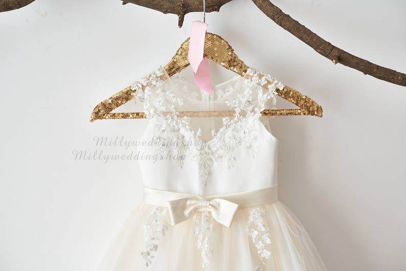 Illusion Sheer Lace Flower Girl Dress M0062 image 0