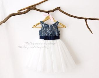a15e143e52e Navy Blue Lace Ivory Tulle Flower Girl Dress M0029