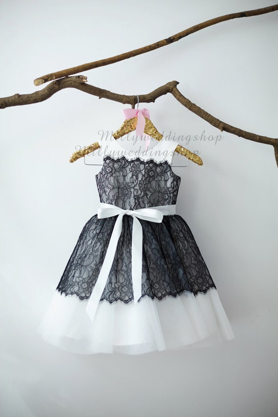 Black Lace Flower Girl Dress M007