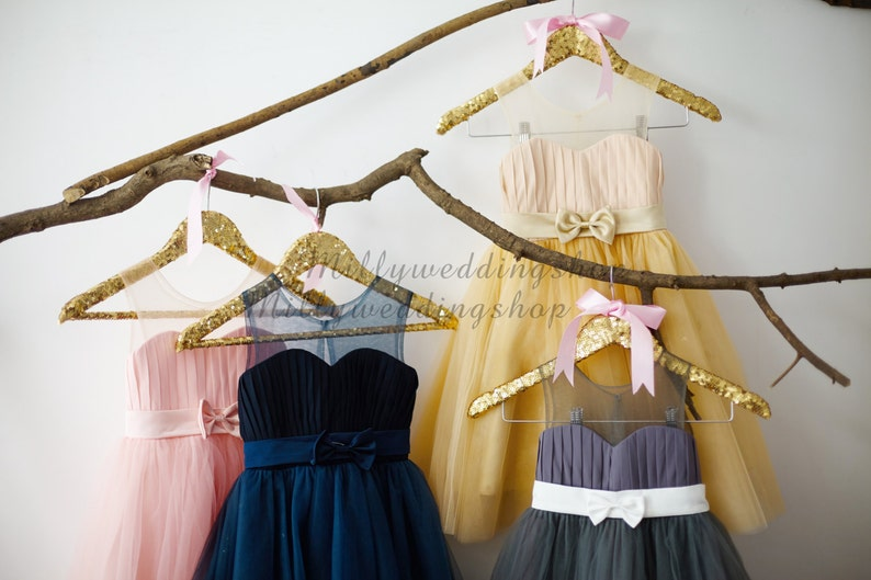 741b13bba5 Pink Navy Blue Gray Champagne Chiffon Tulle Flower Girl Dress