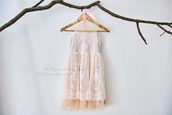 Champagne  Lining Ivory Lace Flower Girl Dress Wedding Junior Bridesmaid Dress M0024