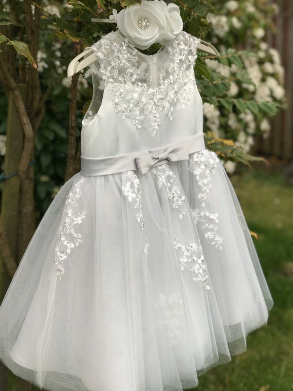 Silver Grey Illusion Sheer Lace Flower Girl Dress M0062B