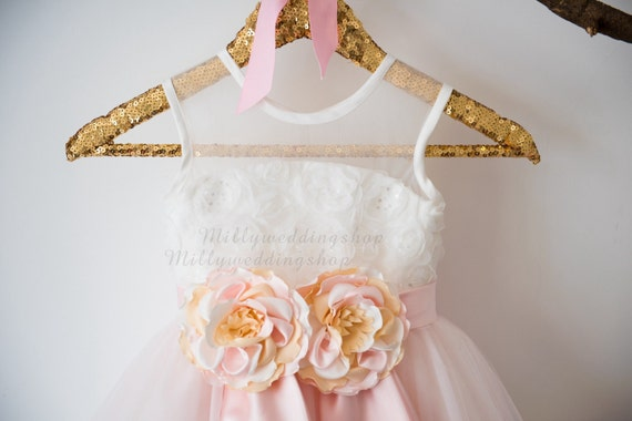 Sequin Rosette Lace Blush Pink Tulle  Flower Girl Dress Wedding Bridesmaid Dress M0040