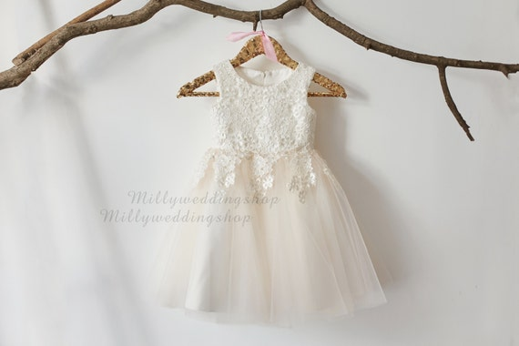 Luxury Ivory Lace Champagne Tulle Flower Girl Dress M0016