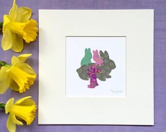 Rabbit nursery art - Easter gift - original rabbit art - papercut art - nursery wall art - animal nursery art - woodland art - nursery art