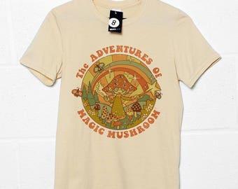 The Adventures of Magic Mushroom - Retro 70s / 80s T shirt - Steven Rhodes.