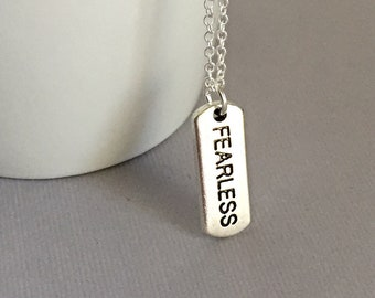Silver Fearless Pendant Necklace, Best Friend Gift, Fearless Charm Jewelry, Fearless, Fearless Necklace, No Fear, Motivational Gift,