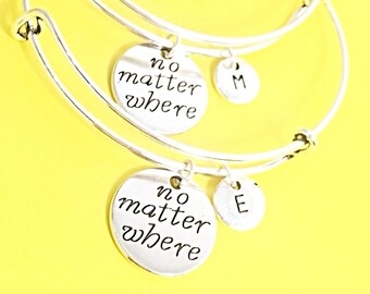Set of 2 Friendship Matching Bracelets Custom Jewelry Friendship Gift. Long distance friendship bracelet, no matter where bracelet, bangles