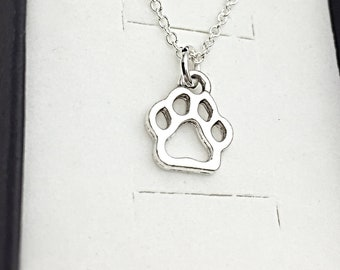 Sterling Silver Chain Paw Print Charm Necklace Jewelry Charm Animal Lover's Gift  Paw Print Necklace Vet Tech Gift Pet Sitter Paw Gift