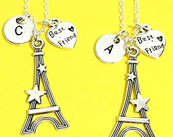 Set of 2 Best Friends Necklace, French Gift For Best Friend, Eiffel Tower Necklace, Tower Charm, French Jewelry, Personalized, Custom Gift
