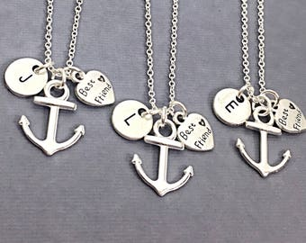 CUSTOM Best Friend Necklaces - set of 3, Anchor Necklace, Anchor Charm, Nautical Necklace, Personalized, Initial, Friendship,3 best friends