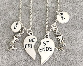 SALE,SET OF 2 Mermaid, Silver Best Friends Necklaces - Set of Two Friendship Necklaces, Infinity, Forever, Friendship Necklace Set, Friendsh
