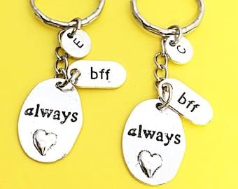 2 Custom bff keychain, Always bff keychain, bff charm, initial charm, initial keychain, personalized, Birthday gift Bff, Always Friend, Gift
