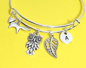 Forest fox charm bracelet, fox bangle bracelet, silver fox jewelry, bangle bracelet, forest, fox, silver bracelet, fox gift, cute fox animal