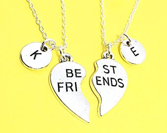 "Gift Set of Two ""Best Friends"" Charm Necklace Friendship necklace for 2 Gift Custom BFF Necklace Friendship Jewelry Gift For Friend Best"