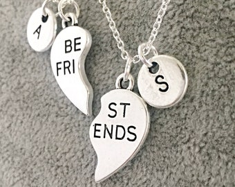 06b8197419 SET OF 2) (Sterling) Best Friends Necklace Personalized Best Friends set  Customized,Best friend Necklace Gift, Bff Friendship Jewelry Gifts.