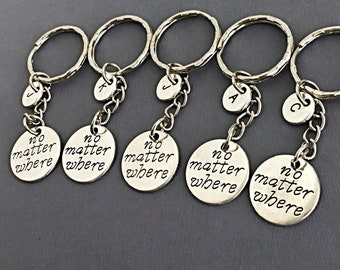 Five Friends,Set of 5 Friend keychains,charm keychain, set of 5 best friend,no matter where ,personalized, 5 Friend Gift