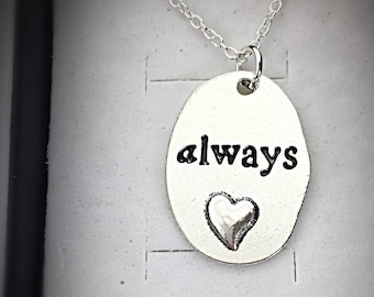Always Necklace, Harry Potter Always Pendant, Silver Engraved Always Charm,Always Jewelry,Always Harry,Potter