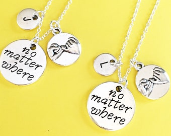 SALE,Set of 2, 925 Sterling Silver chain,No matter where necklace set of 2, best friend necklaces for 2, friendship jewelry, distance friend