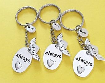 Custom Set of 3,Always Friends, Keychain always charm friends BFF Gifts,Friendship Keychains,3 best friend keychain,Gift Set Of Three Gift