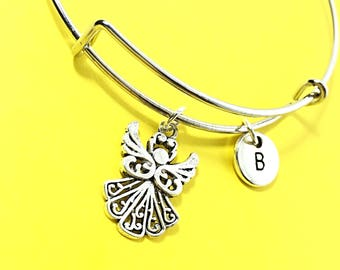 Guardian bangle, angel bracelet, angel charm, personalized, customized, initial, monogram, silver angel, gaurdian angel,bangle,bracelet,gift