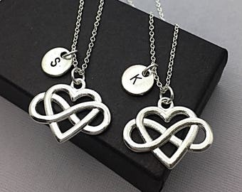 SET OF Personalized Heart Infinity Necklace, Always Infinity Necklace,  Set of 2 Necklaces,  Infinity  Friendship Jewelry, Personalized Gift
