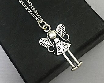 Sterling Silver Angel Necklace. Angel Charm Necklace. Guardian angel charm,Small Silver Angel Necklace. Angel Keepsake Gift.Angel Charm Gift