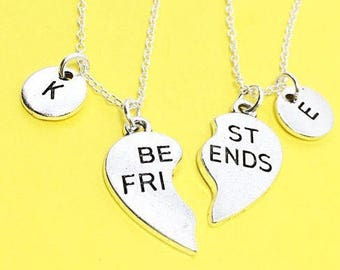 Best Friend Necklace for 2 Best Friend Gift Best Friend Jewelry Personalized Friendship Jewelry Two Best Friend Necklace Initial Custom BFF