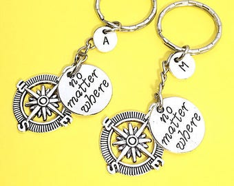 SET OF 2 Personalized Friend Keychains - Set of 2 Charm No Matter Where Personalized Initial Keychain Friendship Jewelry Distance Friend