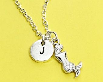 Custom under the sea, mermaid necklace, mermaid charm, mermaid jewelry, personalized, custom, initial charm, initial necklace,under the sea