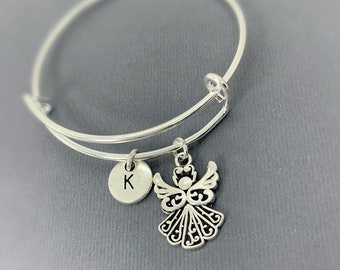 My Guardian Angel Stacking Bracelet For Women Adjustable Sterling Silver Jewellery with a Detailed Angel Charm and Gift Bag from Lu Bella