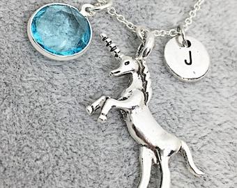 Personalized Unicorn Birthstone Necklace, Unicorn Necklace, Friendship Jewelry, Custom, Monogram, Birthstone Initial Necklace, Unicorn Gift