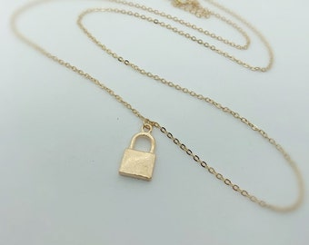 d635810809 Gold, Lock Necklace - key lock necklace, love necklace, partners necklace,  couple jewelry, lock and key jewelry Gift