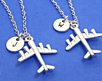 SET OF 2 Airplane Necklace Personalized Plane Charm Necklace Monogram Pilot Gift Flying High Best Friend Necklace