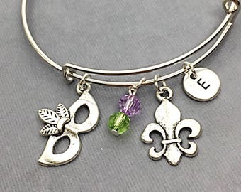 New Orleans Bangle Bracelet, Best Friend Charm Bracelet, Friendship Jewelry, Bracelet set of 2,  Friends Forever,Personalized,Custom,Initial