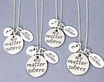 Sale,No Matter Where Distance Jewelry Friendship Distance Gifts BFF Best Friend Distance Necklaces Personalized Necklaces Long Distance