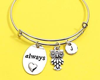 Silver night owl, owl charm bracelet, owl bangle, personalized, customized, initial, initial charm bracelet, monogram, owl jewelry gift