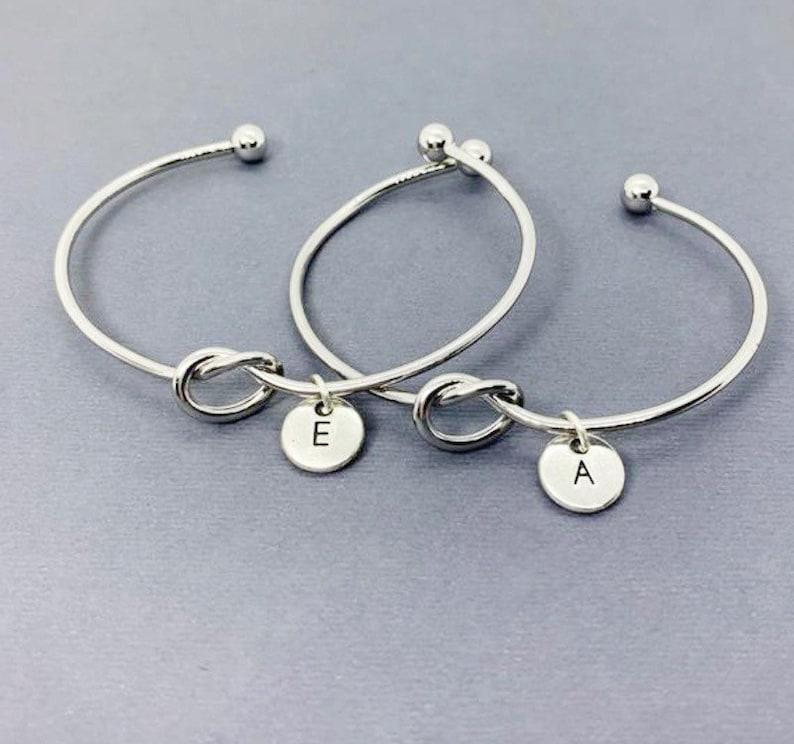 Gift for Friend friendship bangle bracelet,Friendship 2 Friends, Set of 2 ,Custom Best Friend Bracelets for 2 Infinity knot bracelet