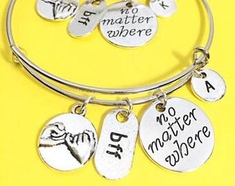 2 BFF, Distance charm bracelet,  Friendship Bangle, Distance Charm Bracelet Gift, No Matter Where Pendant, Long Distance jewelry, Gift BFF