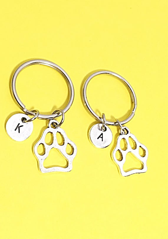 Silver Paw Cavachons: SET OF 2 Personalized Silver Paw Print Keychain Gift Paw