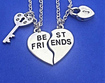 2 Silver Best Friends Necklaces - Set of Two Friendship Necklaces,Blue Crystal bff, Bff Charm, Best Friend, Friend Gift, Best Friend Jewelry