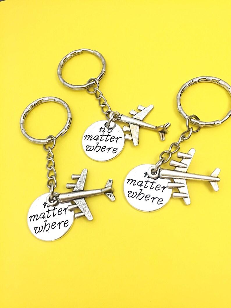 Friend Gifts Three Distance Friendship Keychain Set Set of three Airplane Keychains 3 Keychain Set of 3-Best friends keychain Set of 3