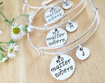 Custom Friendship Bracelets, Set of 3 Long distance friendship bracelet for three, no matter where,bangle bracelet,custom gift,distance